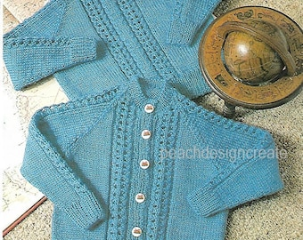 knitting pattern, boy's, girl's, sweater and cardigan, ages 1 to 6 years, 4 ply, double knitting, pdf, digital download