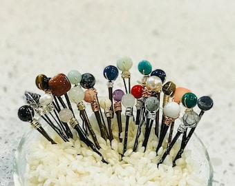 Semi-Precious Hair Pins - Various stones and colors