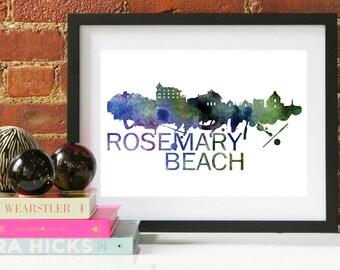 Rosemary Beach Watercolor Skyline, Rosemary Beach Skyline, Rosemary Beach Art, Rosemary Beach Poster, Rosemary Beach Print, Rosemary Beach