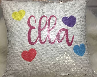 Personalized Mermaid Sequin Pillow Cover, Custom Mermaid Sequin Pillow Cover , Pillow with hearts cover, Birthday Pillow Cover