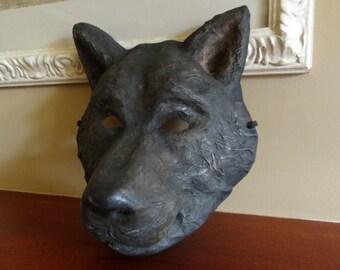 Halloween mask  Wolf mask  Black dog mask Paper wolf mask Paper mache mask Wolf head Animal mask