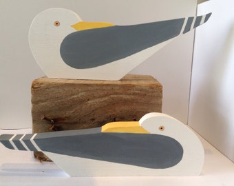 Wooden seagulls, coastal art, seaside, cornish beaches, coves and harbours, collectibles