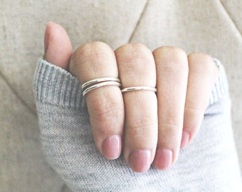 Set of 3 round midi rings, sterling silver midi ring, midi ring, knuckle rings, top finger ring, top finger rings, midi, sterling silver