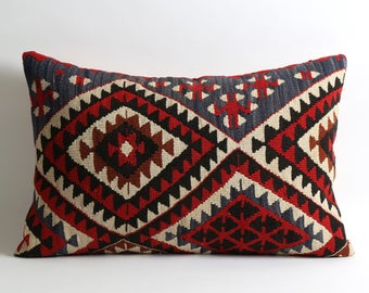 16x24 lumbar kilim pillow cover, kilim, pillow, turkish pillow, turkish kilim, vintage pillow, kilim cushion, turkish kilim pillow cover