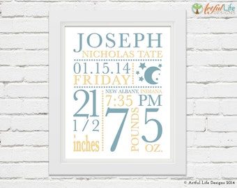 Baby boy birth stats nursery decor print boy personalized name birth stats baby stats nursery decor new baby gift personalized baby negle Images