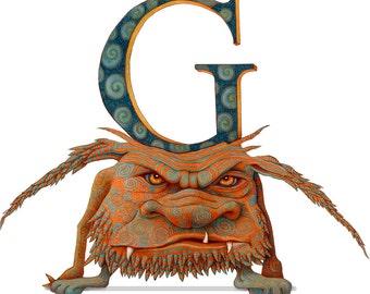 Monster - Kids Art Poster - Letter G - Monster Art - Monster Poster - Letter Print - Monster Poster - Alphabet Print - Art Poster