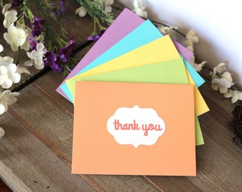 Set of 5 Handmade Thank You Notes, Pastel, Die Cuts, Blank Inside