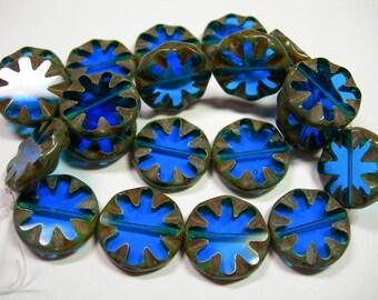 10 18mm Czech Glass Capri Blue Picasso Wheel Coin Beads