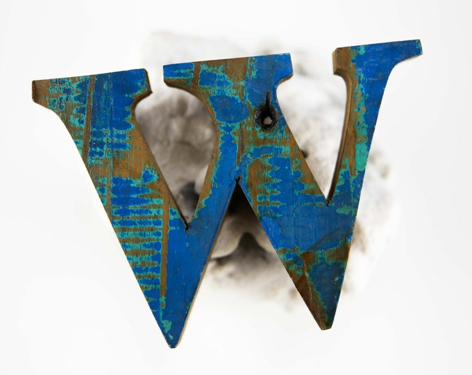 "Beach Decor Wooden LETTER ""W"" Vintage Style Nautical by SEASTYLE"
