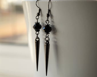 Black Crystal Gun Metal Spike Earrings, Gothic, Goth, Steampunk