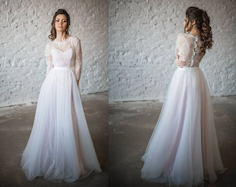 Wedding Dress, Boho Wedding Dress, Vintage Wedding Dress/ 3in 1