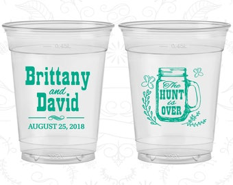 Mason Jar Wedding, Customized Soft Plastic Cups, Rustic Wedding, The Hunt is Over, Disposable Cups (223)