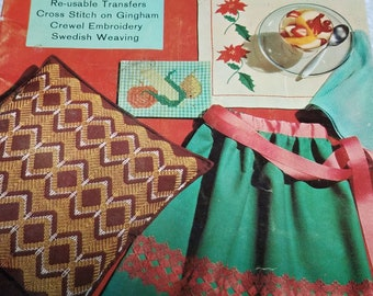 Learn How to Embroider Coats and Clark book #144, 35 page book  vintage 1963 Swedish weaving, cross stitch, crewel embroidery how-to