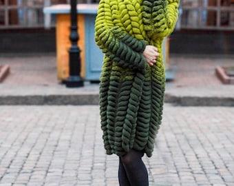Cardigan Lalo Chinchilla green,Cardigan for women, Knit Oversized Cardigan, Chunky knit cardigan, Chunky Knitted Coat, Wool cardigan