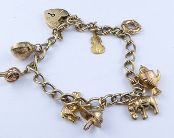 9 ct Gold charm bracelet with padlock clasp - fully hallmarked