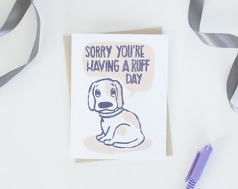 Sympathy Get Well Cards, Dog Animal Puns, Funny Greeting Cards, Lino Cut Greeting Cards, Block Printed Cards