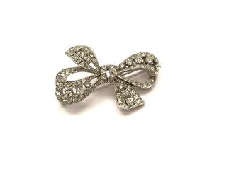 Pretty Vintage Rhinestone Paste Ribbon Bow Brooch