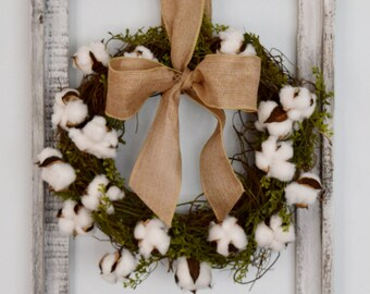 Rustic Cotton Wreath in Barnwood Frame Wall Decor