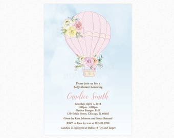Hot Air Balloon Baby Shower Invitation, Pink Balloon, Girl Baby Shower Invitation, Personalized, Printable or Printed