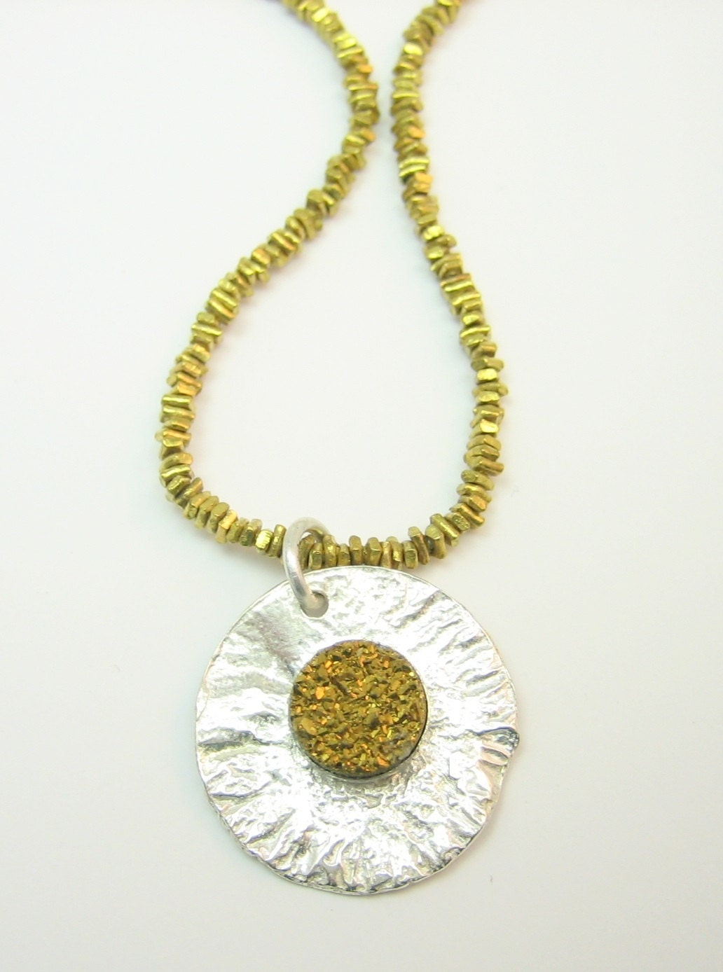 Hammered golden druzy quartz necklace with gold beads, artisan made two toned necklace with gold gemstone, gift for her, brass necklace