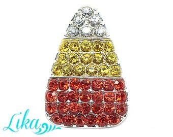 Candy Corn Rhinestone Button - Rhinestone - Flatback Rhinestone Button - Metal Rhinestone - Wholesale - Halloween Rhinestone