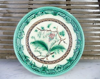 Vintage Majolica Plate Cake Stand, Footed, Majolica Pottery, Compote Bowl Majolica Footed Bowl, French Faience, Compote