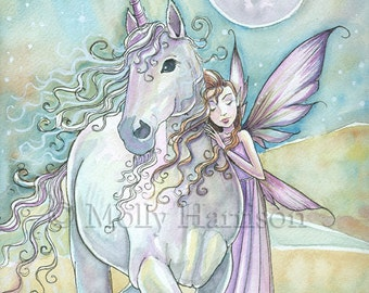 Nomads - Unicorn and Fairy Fine Art Giclee Print 9 x 12