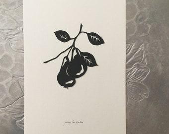 Pear Silhouette Papercutting