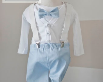 Baby boy cardigan onesie pants white and blue outfit set with suspenders .. pick your bowtie...gifts, baptism christenings babyshower