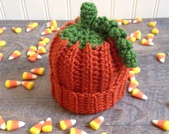 Crochet Pumpkin Hat, Newborn Photo Prop, Halloween Photo Prop, Thanksgiving, Fall Photo Prop, Knit Pumpkin Hat, Knit Baby Hat