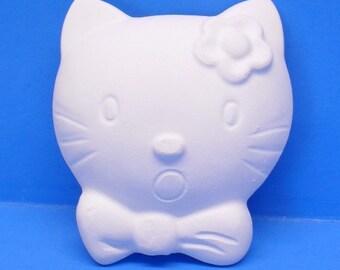 Ready To Paint/DIY/Plaster/ChalkWare/White Ware/PlasterCraft Flat Back Magnet Kitty Head #385