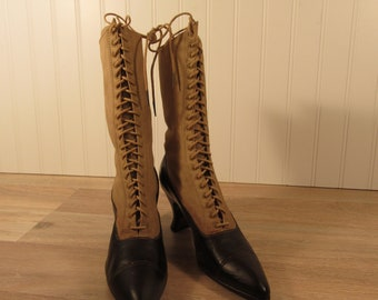 Antique leather and fabric lace up boots (early 1900s)- nice condition for age, victorian boots, vintage footwear, granny boots