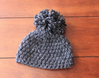 Chunky Pom Hat - Charcoal Gray