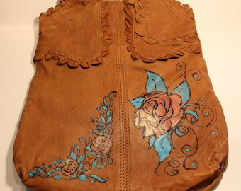 Lucky Brand Leather Purse with Art!