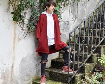 Men's Long Dark Red Noragi Jacket, Japan Oversized Kimono Cardigan, 4 Pockets Coat, Textured Anti Wrinkle Fabric, One Size Haori Yukata