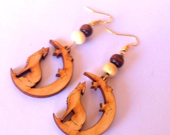 Wolf Howling at Moon Wood Earrings
