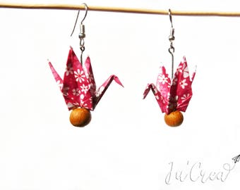 Pink Origami crane earring