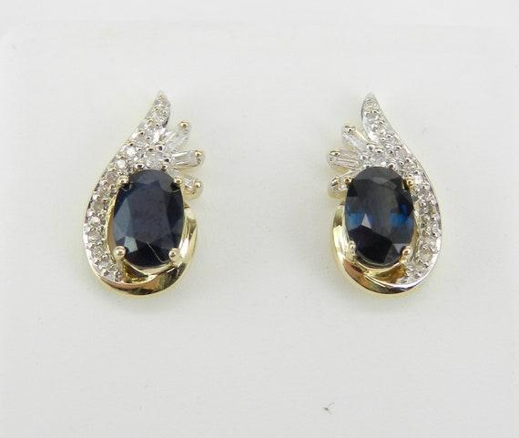 Sapphire and Diamond Stud Earrings September Birthstone Studs Yellow Gold Earrings