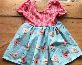 Floral Teepee Twirling Dress, Coral, Light Blue, Girls, Toddler, Native, Tribal, Gift