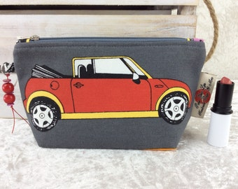 BMW Minis Zipper Case Zip Pouch fabric bag pencil case purse cars handmade