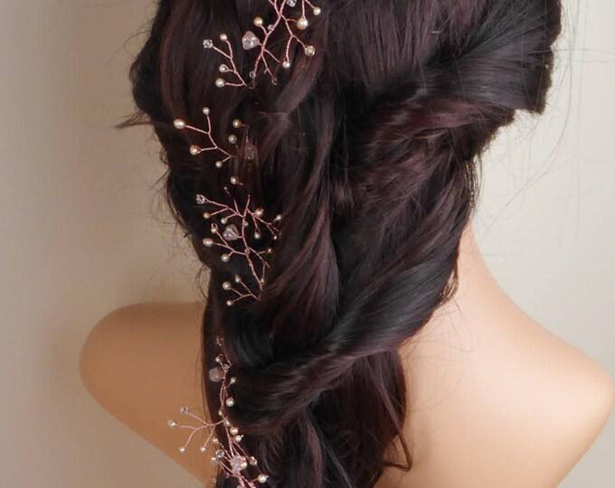 blush Pink hair vine, peach, rose gold, Swarovski hair vine, garland, pearl, Crystal, braid wrap, wedding hair accessories, bride hair