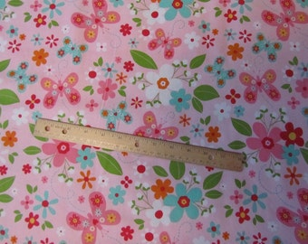 Pink Flowered/Butterfly Riley Blake Garden Girl Cotton Fabric by the  Yard