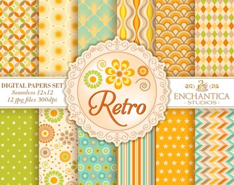 Retro Digital Paper, Digital Paper Retro, Retro Digital Pattern, Geometric Digital Paper, Retro Scrapbook Paper, Retro Digital Background