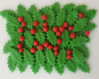 Marzipan Holly Leaves (50) and berries (50) - fondant holly leaves- fondant holly berries - edible Christmas holly - Christmas holly cupcake