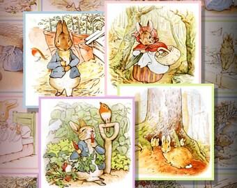 Peter Rabbit 2 Inch Squares Printable Instant Download Digital Collage Sheet Easter Bunny Beatrix Potter