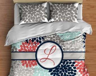 Custom Floral Dahlia Bedding in Comforter or Duvet style features Navy Coral and Aqua! Your Bedding Personalized with a Monogram