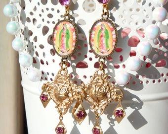 Virgin de Guadalupe Handmade Resin Chandelier Earrings - Catholic Religious Earrings - Mexican Art Earrings - Virgin Mary - Gift Ideas