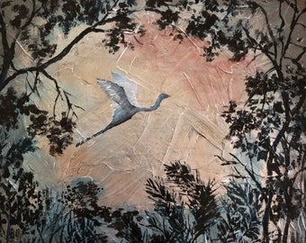 Night Flight, Small Oil Painting on Silver Leaf