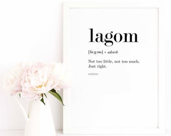 Definition Print / Lagom Poster / Nordic Print / Swedish Poster / Quote Print / Text Poster / Minimalist Print / Typography Print
