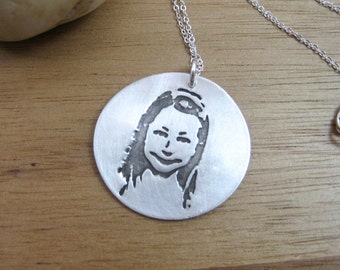 Personalized Necklace Recycled Silver Custom Photo Necklace Portrait Necklace Photo Jewelry Mothers Necklace Caricature Necklace - Portrait